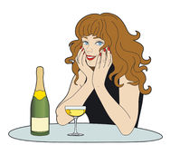 Woman with a glass of champagne. Woman seated at a table with a glass and a bottle of champagne Stock Illustration