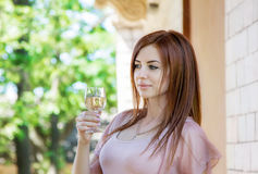 Woman with the glass of champagne Royalty Free Stock Images
