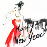 Woman with glass of champagne. Christmas and New Year holiday celebration. Watercolor illustration Royalty Free Stock Photography