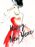 Woman with glass of champagne. Christmas and New Year holiday celebration. Watercolor illustration Stock Photography