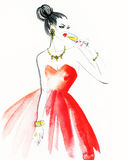 Woman with glass of champagne. Christmas and New Year holiday celebration. Watercolor illustration Stock Photo