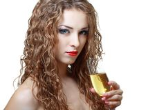 Woman with glass of champagne Stock Images