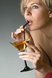 Woman with glass of cocktail Royalty Free Stock Image