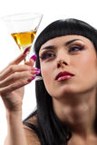 Woman with glass of cocktail stock images