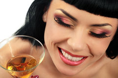 Woman with glass of cocktail Royalty Free Stock Photo