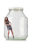 Woman in glass jar Royalty Free Stock Photo