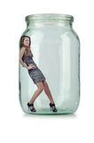 Woman in glass jar Royalty Free Stock Image