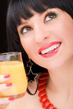Woman with glass of juice Stock Photo