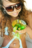 Woman with a glass of martini Royalty Free Stock Photography