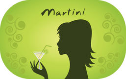 Woman with glass of martini. Royalty Free Stock Photography