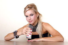 Woman with glass of milk Royalty Free Stock Photos