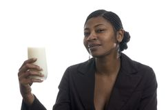 Woman with glass of milk Stock Image