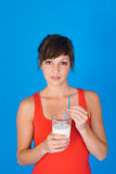 Woman with glass of milk Stock Photos