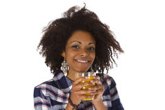 Woman with glass of orange juice Stock Images