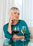 Woman with glass of red and white wine Royalty Free Stock Photo