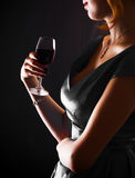 Woman with glass red wine. Beautiful woman with glass red wine Royalty Free Stock Photos