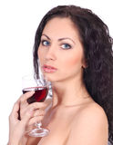 Woman with glass of red wine Stock Photo