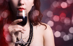 Woman with glass red wine Royalty Free Stock Photography