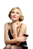 WOMAN WITH GLASS RED WINE Royalty Free Stock Photos