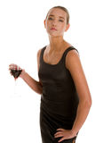 Woman with glass of red wine Stock Photography