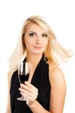 Woman with a glass of red wine Royalty Free Stock Photo