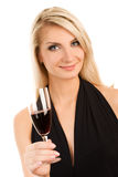 Woman with a glass of red wine Stock Photography