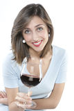 Woman with glass red wine Royalty Free Stock Image
