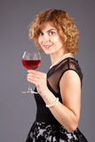 Woman glass red wine Royalty Free Stock Photo