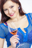 Woman with a glass of rose wine Stock Photo