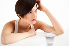 Woman with glass of water Royalty Free Stock Images