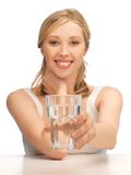 Woman with glass of water Stock Images