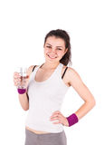 Woman a glass of water aerobics Royalty Free Stock Photography
