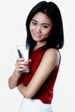 Woman with a glass of water in her hand Portrait with health con Royalty Free Stock Photography