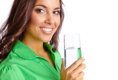 Woman with glass of water Royalty Free Stock Photography