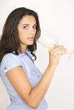 Woman with a glass of white wine Royalty Free Stock Photo