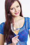 Woman with a glass of white wine Stock Photography