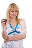 Woman with a glass of wine. Stock Photo