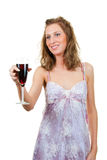Woman with a glass of wine Stock Photography