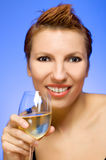Woman with glass of wine Royalty Free Stock Photos