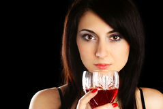 Woman with a glass of wine. Royalty Free Stock Image