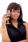 Woman with a glass of wine Royalty Free Stock Image