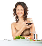 Woman glass of wine Stock Images