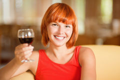 Woman with glass wine Royalty Free Stock Photos