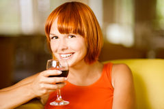 Woman with glass wine Royalty Free Stock Photo