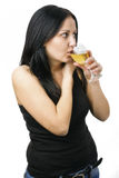 Woman with glass wine Royalty Free Stock Image