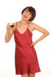Woman with glass of wine Stock Photos