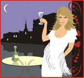 Woman with glass of wine vector illustration