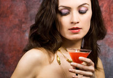 Woman with glass of wine Stock Image