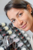 Woman with glass wine. Woman with glass of wine Royalty Free Stock Photography