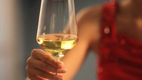 Woman with a glass of wine in hand Stock Images